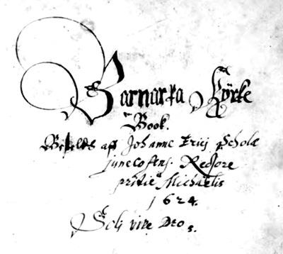 Handwritten Cover - Barnarp Church Records - 1624