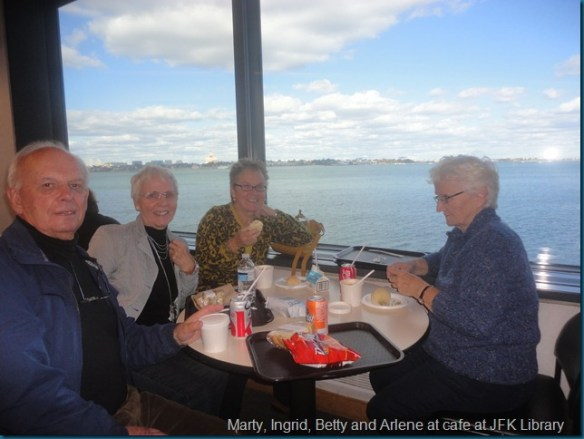 Marty, Ingrid, Betty and Arlene at cafe at JFK Library