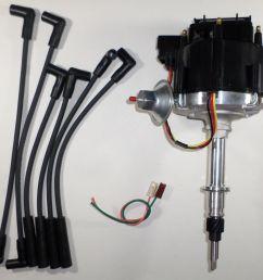 amc jeep inline 6 232 258 6 cylinder hei distributor u0026 black spark plug wires [ 1600 x 1467 Pixel ]