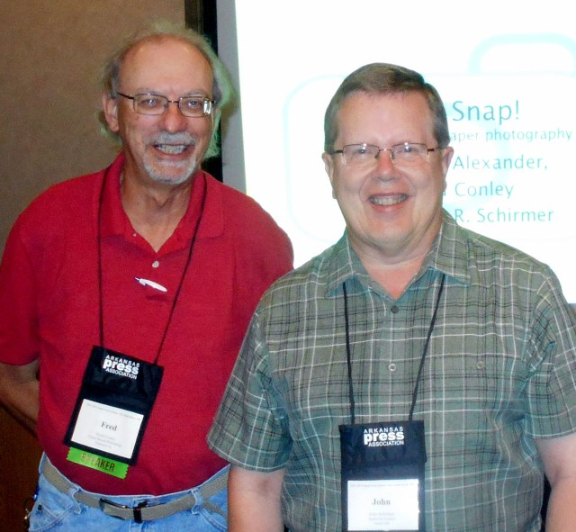 Presenters Fred Conley of the Forrest City Times Herald and John R. Schirmer of The Nashville Leader presented a New Photography session at the APA convention.