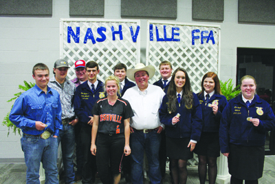 Nashville FFA Show Team- Back row, Barrett Jackson, Dillon Billings, Tanner Bryan, John Raulerson, Dalton Billings, and Layne Thompson. Front, Brittany Hilliard, Karter Castleberry, Audra Hughes, Kelsey Hockaday, and Mae Lamb.