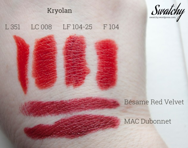 Kryolan compared to MAC and Bésame