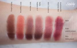 Nabla - Ludwig, MAC - Coppering, MAC - Maroon (pigment), Nabla - Daphne no 2, MAC - Cranberry, Anastasia Beverly Hills - Venetian Red