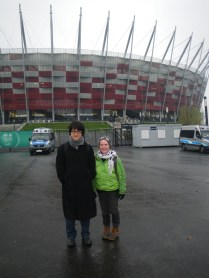 Alex and Laura in front of the stadium conference center