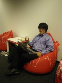 Alex in one of the many Emirates-sponsored bean bags that lined the halls