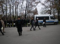 Alex in front of one of the many many assemblies of police preceding the Climate Justice march that we joined on Friday