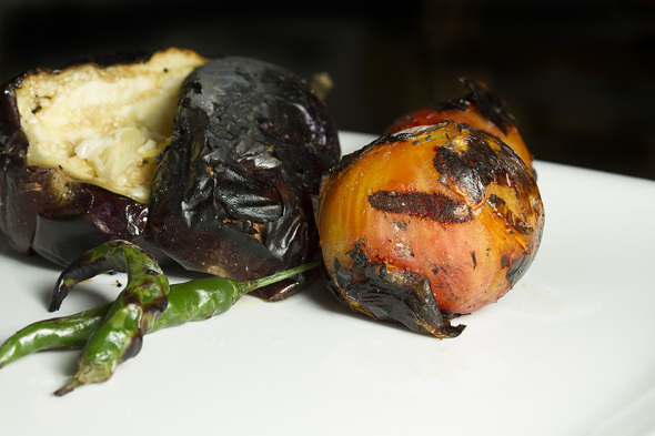 Charcoal grilled vegetables of Baigan Bharta