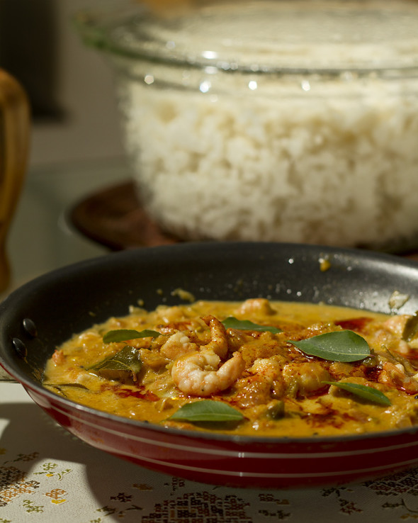 Prawn curry in coconut milk with steamed rice