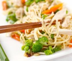 Chicken and oyster mushroom noodles