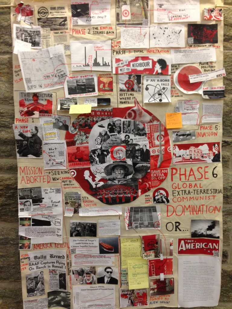My conspiracy wall, on display in McCabe Library.