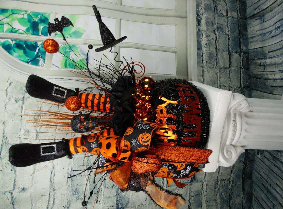 Halloween Witch Leg Cauldron Centerpiece  Home Decor