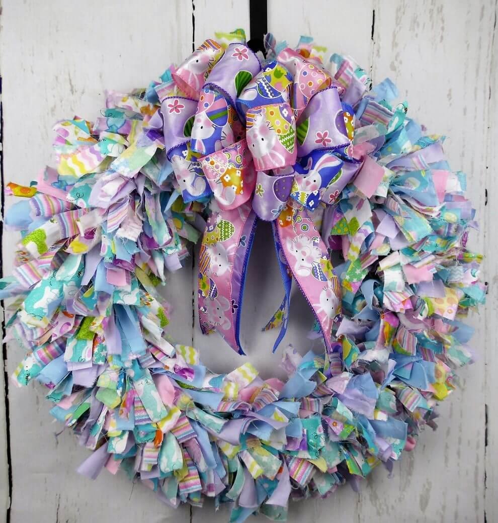 Easter Rag Wreath Home Decor Wreaths Garland