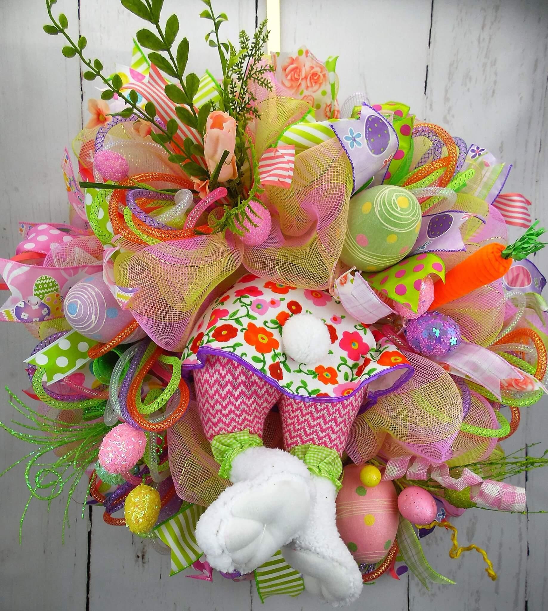 Girl Bunny Bottom Easter Wreath  Home Decor Wreaths