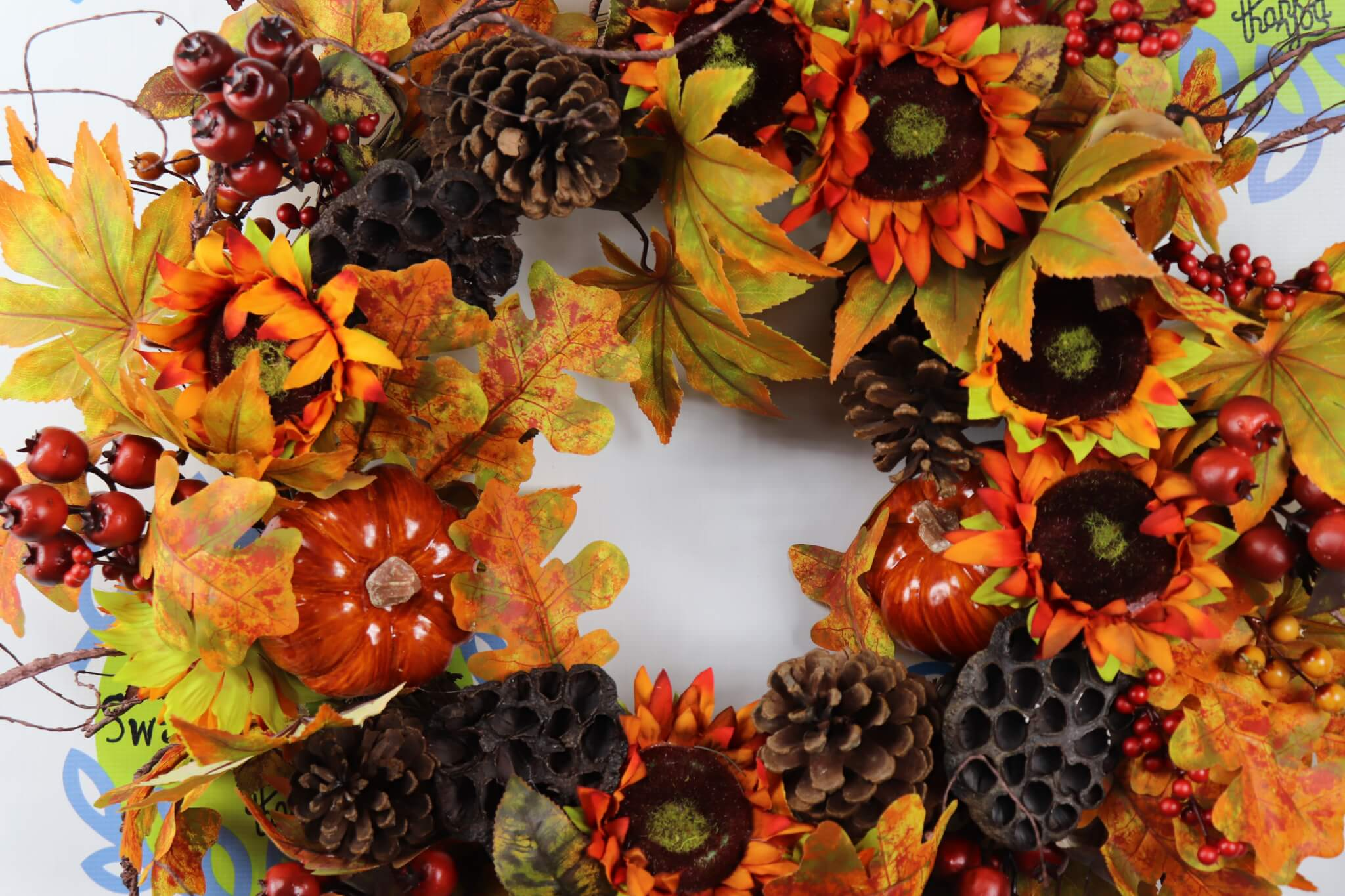 Fall XL Grapevine Sunflower Wreath Home Decor Wreaths