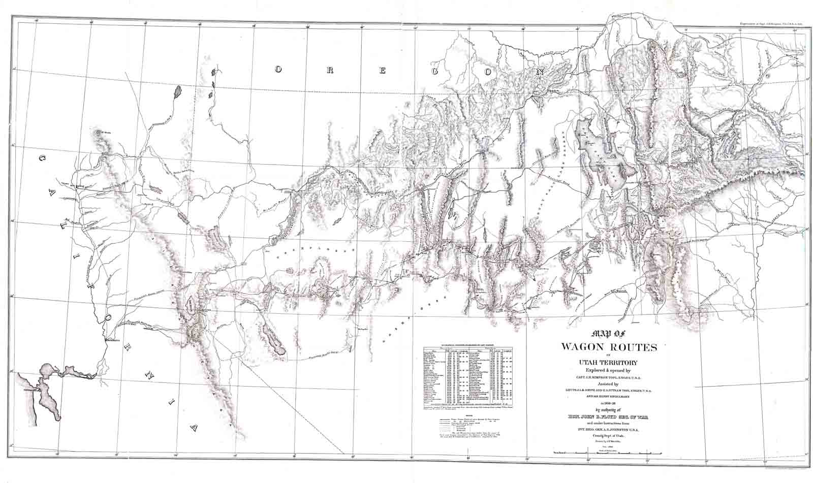 Coll C 001 Map Of Wagon Routes In Utah Territory Map Is Property Of Center Of Southwest