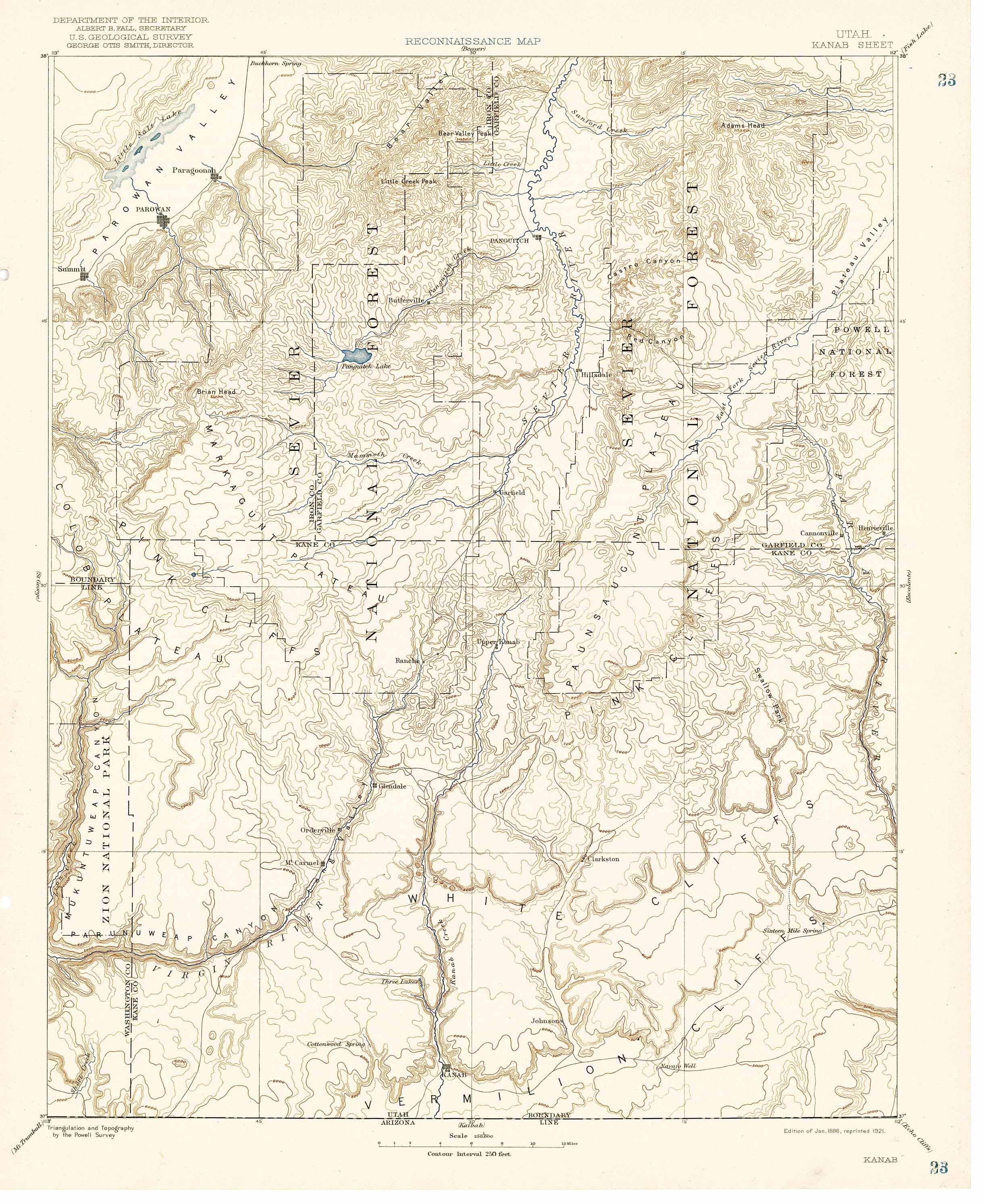Collection C 007 Usgs Topographic Map Of Kanab Utah At