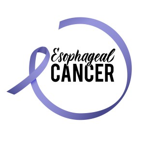Esophageal Cancer with purple ribbon for awareness