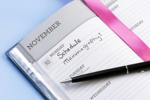 Appointment book with schedule mammography reminder.