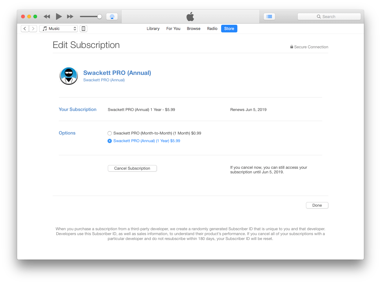 Editing Your Swackett PRO Subscription in iTunes