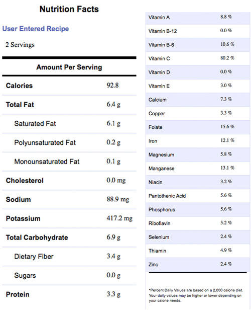 Vegetarian Bisque Nutritional Info