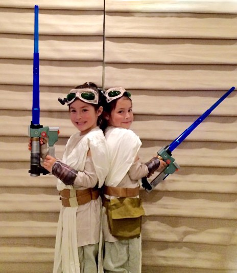"Angelique Hager, mother of the twins, says: ""Until Rey, my daughter Riley wanted to be Anakin. Not Padme, or even Leia. She wanted to be a Jedi. Then we discovered The Clone Wars and Ahsoka, but even then we couldn't find a costume for her. Rey is revolutionary."""