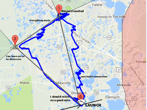 A map of our task. The blue line is the route I took. Follow from 0 to 1 to 2. You can see how my route is always right of the black course line because I was being pushed west by the wind. Labeled for your convenience. Green Swamp Sport Klassic, 2017.