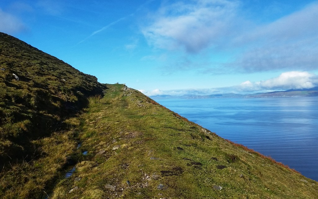 One of the best sections of the Kerry Way wound up this hillside to a steep drop off to the Dingle Bay. Photo: Sara Weaver, Oct. 2018.