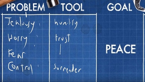 """The tools that help us deal with the problems: reads """"humility, trust, surrender."""""""