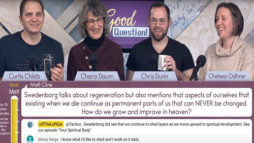 "The panel, Curtis, Chara, Chris, and Chelsea sit at the anchor desk. Below, a screen shows the question, ""How do we grow and improve in heaven?"""