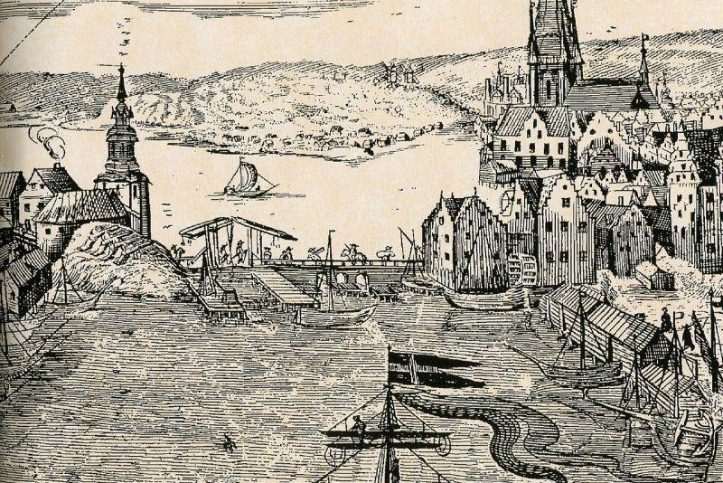 1642年落成的初代水閘。(圖: Wolfgang Hartmann, 1650)