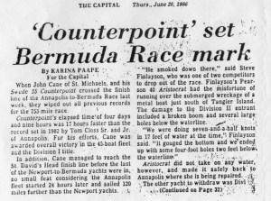 Artikel über Counterpoint bei der Annapolis - Bermuda Regatta 1986