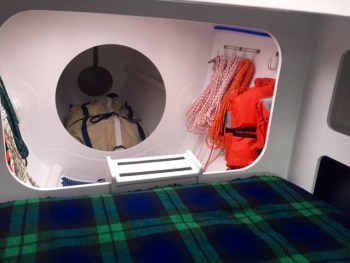 The sail locker and storage for ropes are accessible from the deck © Boomer Depp