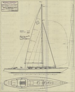 Sailplan of the 40 sqm cruising boat by Knud Reimers dated March 1974 - source SSHM Stockholm