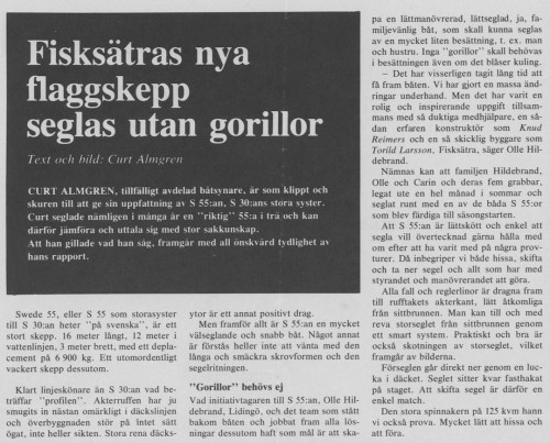 Article on Swede 55 in Swedish magazine På Kryss & Till Rors 11/1976