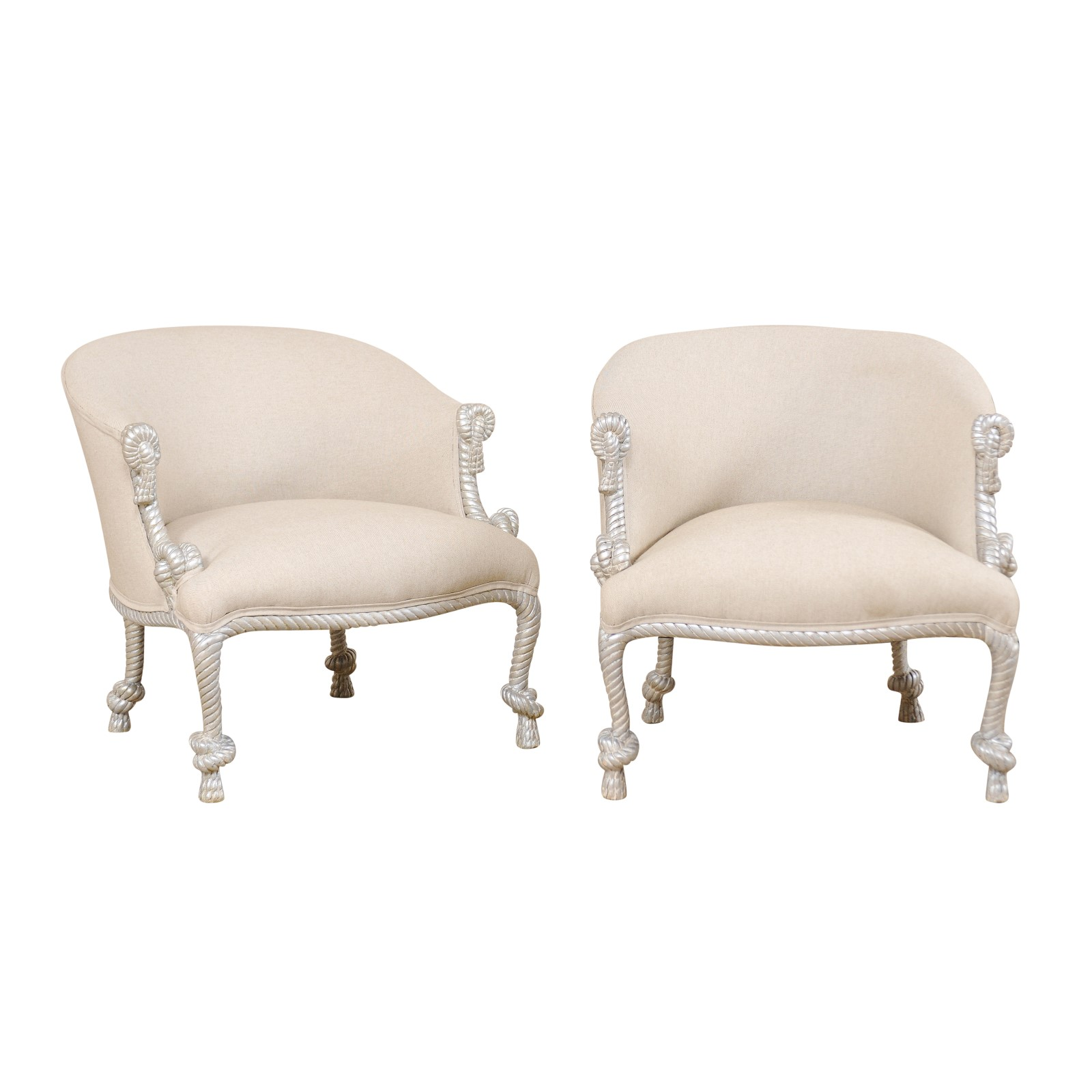 Antique Accent Chairs Pair Italian Barrel Accent Chairs 387 A Tyner Antiques