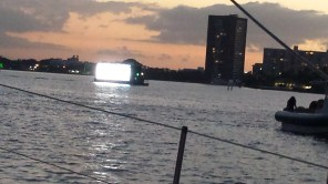 Jumbotron boat coming through.