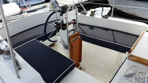 Looking aft shows the restored table and other details.