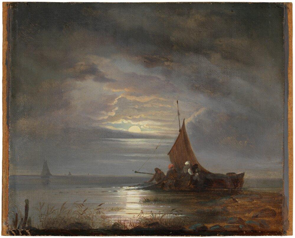 Coastal landscape with fishermen
