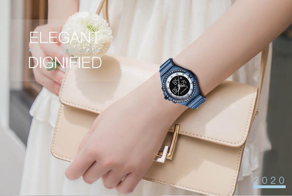 Analog Watch With Digital Display For Lady 1