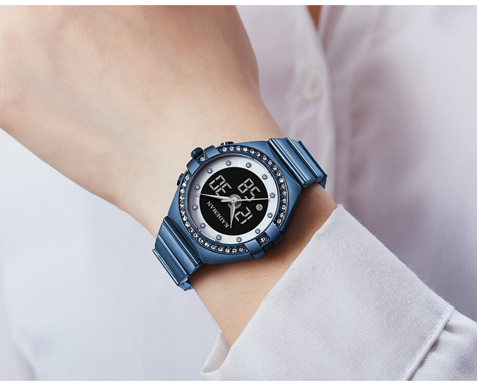 Analog Watch With Digital Display For Lady 6
