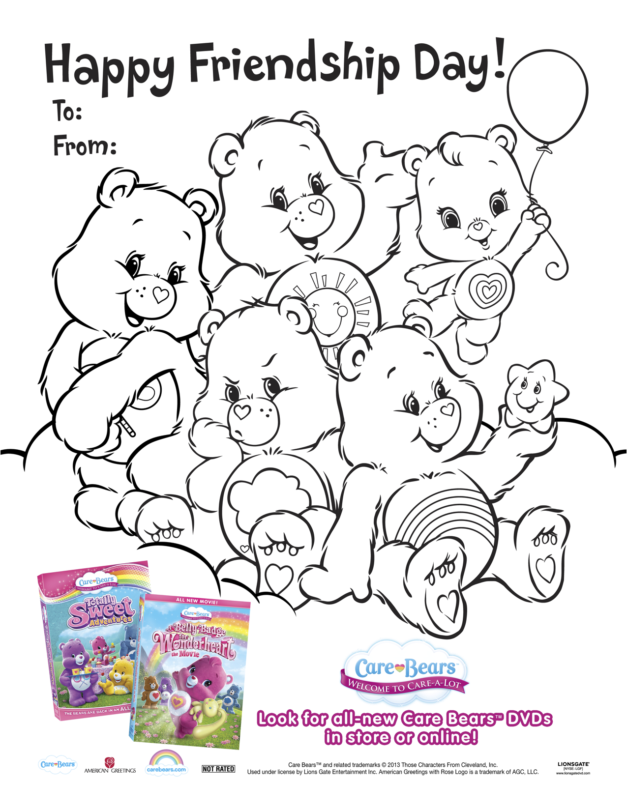 Care Bears Printable Friendship Day Coloring Page