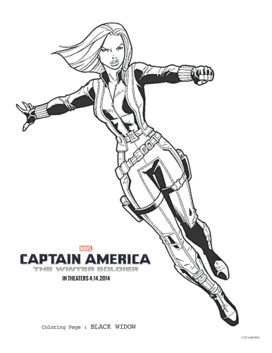 Captain America: The Winter Soldier Black Widow Coloring