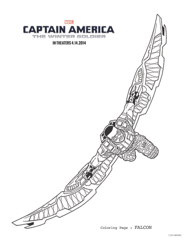 Captain America: The Winter Soldier Falcon Coloring Page