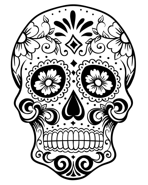 Day Of The Dead Sugar Skull Coloring Page Free Printable Coloring Pages  Dubai Khalifa