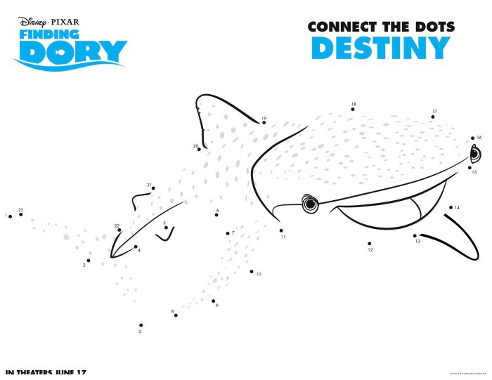 Disney Finding Dory Destiny Connect The Dots Coloring Page