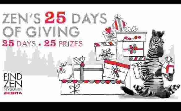 Zebra Pen Zen 25 Days of Giving Sweepstakes