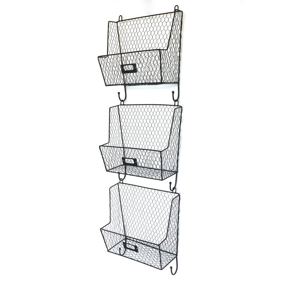 Lot 3 Metal Wire Key Mail Fruit Basket Holder Wall Mount