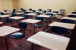 school desks in a classroom