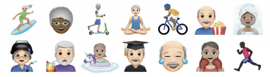 Anti-âgisme et numérique, Quelques oldmojis, les emojis senior friendly de l'APEF