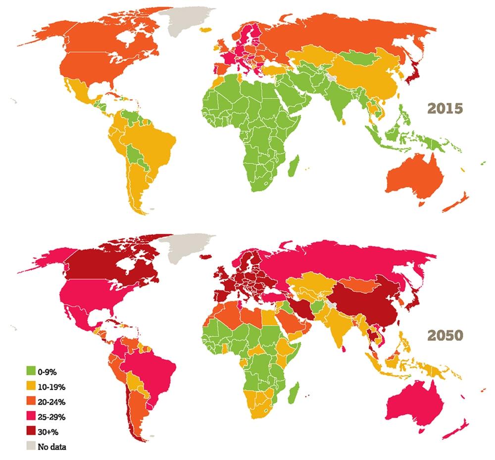Proportion de la population âgée de 60 ans ou plus en 2014 et 2050 - Global Age Watch Index 2015, HelpAge